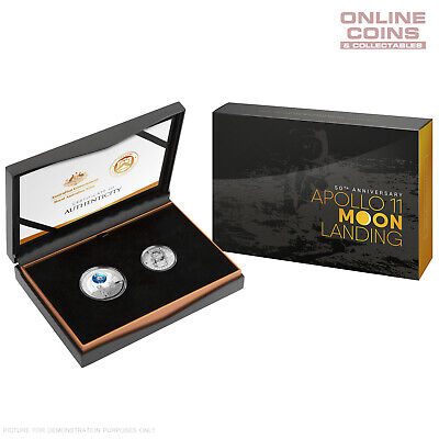 2019 Two Coin Proof Set 50th Anniversary Moon Landing Inc Coloured Domed $5 Coin