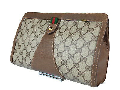 6dee6f01f Authentic GUCCI GG Pattern PVC Canvas Leather Browns Clutch Bag GP2064