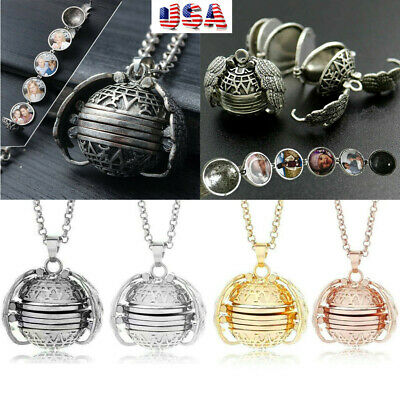 Expanding Photo Locket Necklace Angel Wing Pendant Birthday Lover Memorial Gift