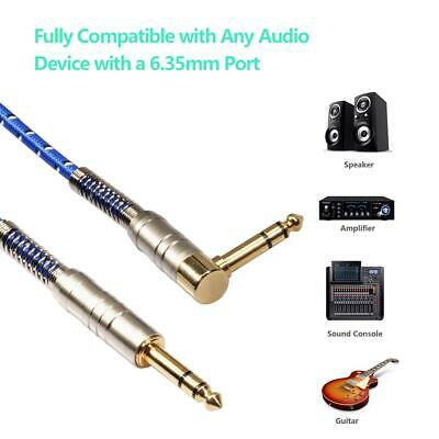 90° AUX Cord 6.35mm Stereo Male to Male Audio Cable for Electric Guitar Mixer