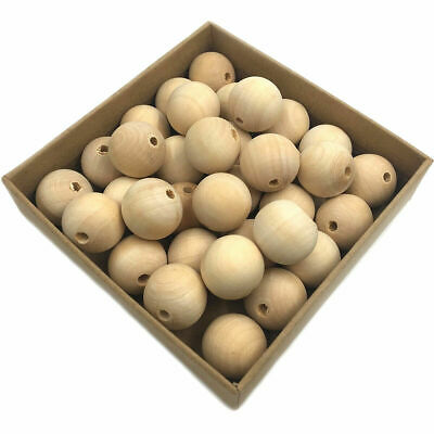 Round Natural Wooden Unpainted Loose Beads Baby Teething DIY Jewelry Making Toy