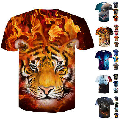 Mens T Shirt Animal 3D Print Summer Casual Funny Short Sleeve Graphic Tee Tops