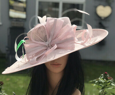 New Ladies Pale Pink Sinamay Hat Wedding Ascot Formal Mother Of The Bride Races