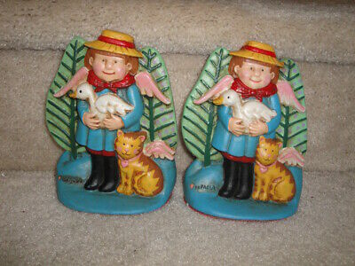 Vintage RARE NOS Tomie DePaola Mother Goose Cast Iron Bookends Or Door Stops
