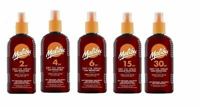 2 X 200ml Malibu Suntan Lotion Dry Oil Spray Water Ressistant Choose SPF