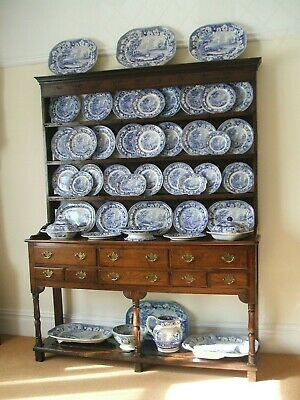 Antique Blue & White / Pearlware / Swansea Cambrian Cows Crossing Stream C 1830