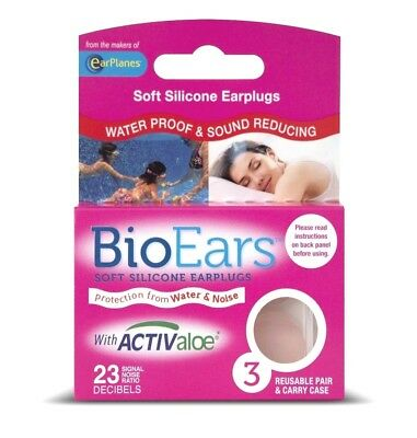 NEW Pink BioEars Soft Silicone Earplugs with Activaloe - 6 x 3 Pairs (18 Pairs)