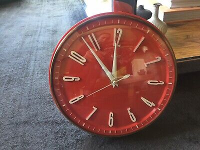 Vintage 1960s 1970s Metamec Wall Battery Clock in Red, White and Brass