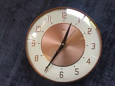 Vintage 1960s 1970s Metamec Wall Battery Clock in Rose Gold, White and Brass.