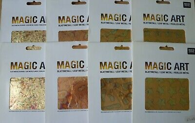 Rico Design Leaf Metal Sheets & Flakes x 8 Packs, Gold, Copper & Mix Patterns