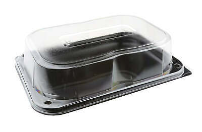 25 x Black Serving Platters with Lids - Small Recyclable | Catering Supplies