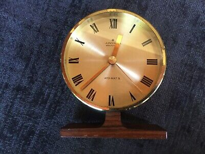 Vintage 1960s 1970s  Junghans Ato - Mat S Brass and Rosewood Mantel Clock