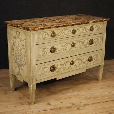 Dresser Drawers Cupboard Mobile Italian Lacquered Painted Wood Style Louis XVI