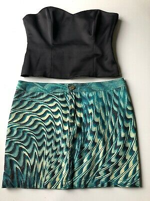 Roberto Cavalli Bourne Set completo donna Gonna Top Bustier Tg 42