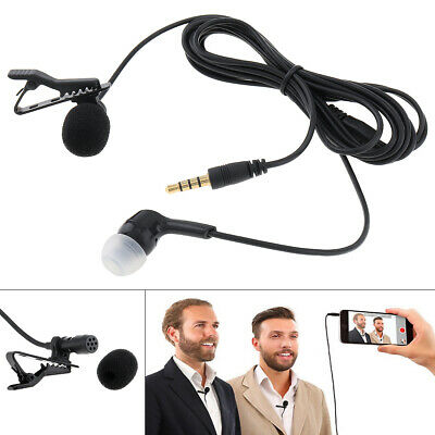 Hot Clip On Lapel Microphone Hands Free Wired Condenser Mini Lavalier Mic 3.5mm