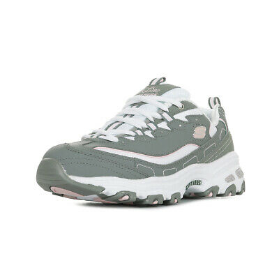 771f1f6d7fc Chaussures Baskets Skechers femme D Lites Biggest Fan Gray White taille Gris