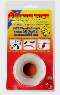 """RESCUE TAPE Self-Fusing CLEAR Silicone Repair Permanent Waterproof 1"""" x 12 ft"""