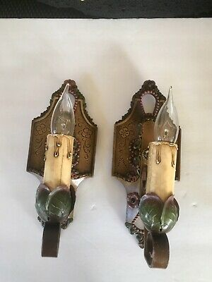 A Pair Of  Antique LINCOLN Cast Iron Wall Sconces
