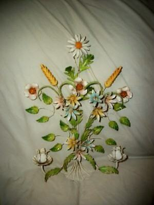Italian Tole Floral Candle Sconce Vintage Original Color French Style