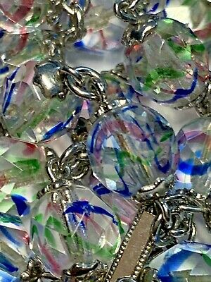 """† Scarce Xl Huge Vintage Sterling & Confetti Double Capped Rosary 39"""" Necklace †"""