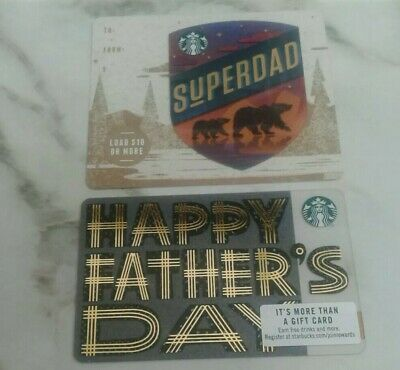 2 STARBUCKS Gift Cards Happy Father's Day, SUPERDAD, 2019, Collectible, Mint