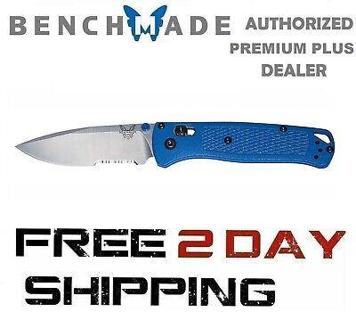 Benchmade Bugout 535S Knife, Folding Knife Serrated Edge Drop-Point Blue Handle