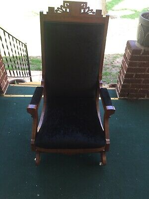 Antique Eastlake Platform rocking Chair Reupholstered Black Velvet Pick Up Only