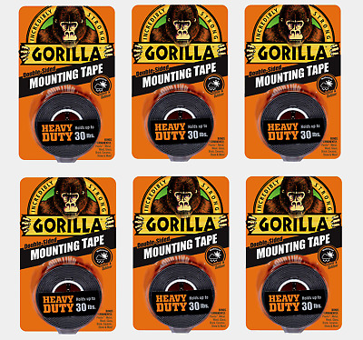 """6 ~ Gorilla Heavy Duty MOUNTING TAPE Double-Sided Black Holds 30 lbs 1"""" x 60"""" L"""