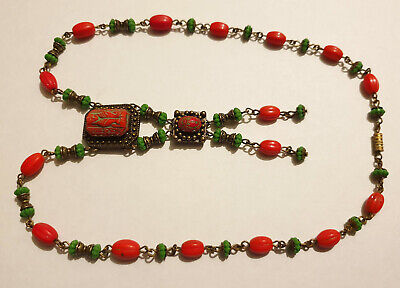Vintage Art Deco Style Glass Bead & Cabochon Egyptian Revival Pendant Necklace