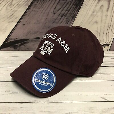 best service e8e9d 077d2 Texas A M Aggies Spell Out Maroon Adjustable Hat Top of the World Cap New