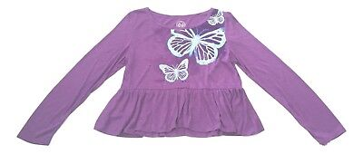 So Girls Plus Size 14 1/2 Purple Butterfly Embellished Ruffle Hem Top Shirt NEW