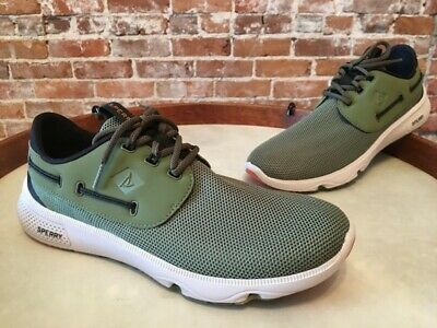 Sperry Top Sider Olive Green Mesh Camo Sole 7 Seas Boat Sneaker 9 40 NEW