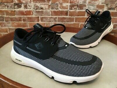 Sperry Top Sider Black White Mesh Laced 7 Seas 3 eye Boat Shoe Sneaker 9 40 NEW