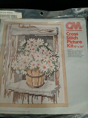 "Vintage 1976 ""DAISIES"" Columbia/Minerva 12""x16"" Cross-Stitch Kit #6711 - Started"
