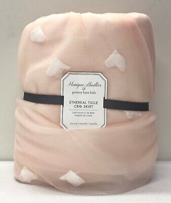 NEW Pottery Barn KIDS Monique Lhuillier Ethereal Tulle Crib Skirt~Blush Pink