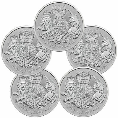 Daily Deal Lot of 5 2019 Britain 1 oz Silver Royal Arms £2 Coins GEM BU SKU57912