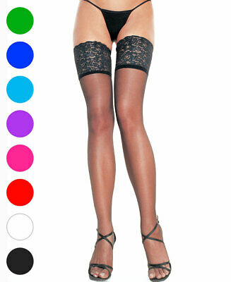 Sheer Thigh High Stockings With 5 Inch Silicone Lace Top - Leg Avenue 9750