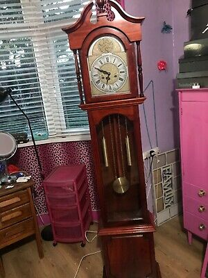 VINTAGE Tempus Fugit KEY WIND Grandfather Clock 31 DAY Brown Good Condition