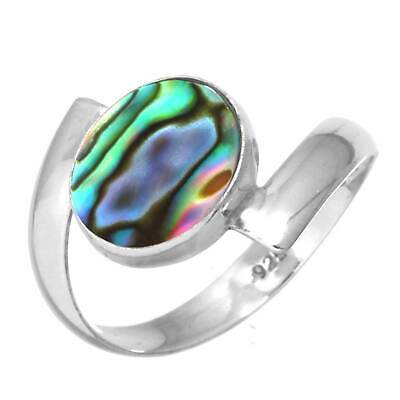 Natural Abalone Shell Ring 925 Sterling Silver Handmade Jewelry Size 11 GK24789
