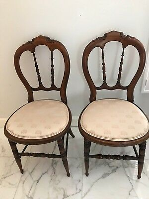 A Pair of Beautiful Antique Fruitwood side chairs from late 1800's-early 1900's