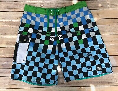 VTG Quiksilver Textured Blue & Green Checkerboard Swim Trunks 36 Waist L