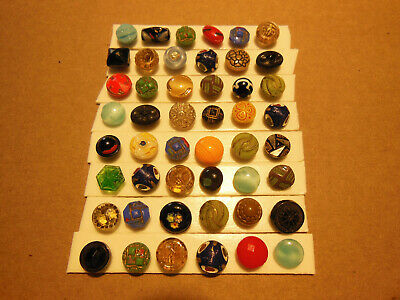 Lot Of 48 Antique Victorian Diminutive Assorted Styles Colorful Glass Buttons
