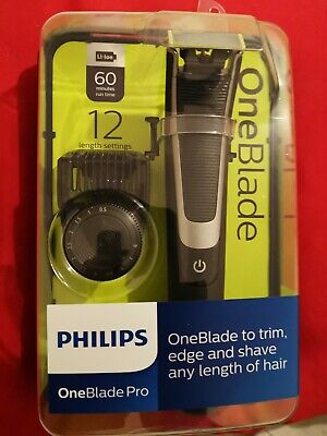 Philips One Blade Pro Trimmer Shaver 12 Length Settings Rechargeable Qp6510/25