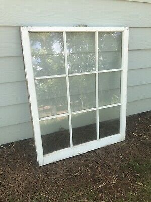Window Sash, Vintage Antique Rustic Wood 9 Frame