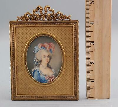 19thC Antique Grand Tour Miniature Portrait Painting Mademoiselle, Gilt Frame