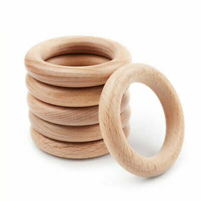 5/10Pcs Natural Beech Wood Ring Untreated DIY Baby Teething Toys Jewelry Making