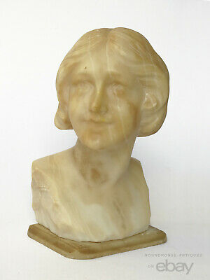 1910s Antique Art Nouveau Carved Marble Alabaster Bust Lady