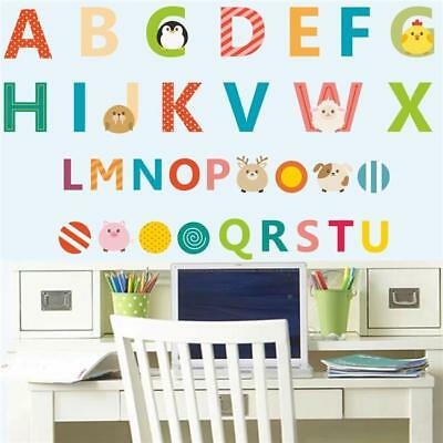 Animals 26 A-Z Alphabet Letters Kids Nursery Room DIY Wall Stickers Decals MH