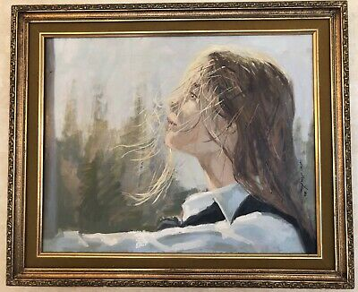 Framed, Signed Oil Painting By American Artist Gerald Fairclough Blonde Woman