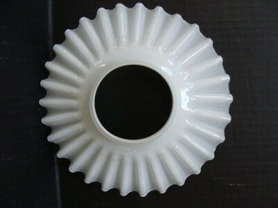 """Antique White Translucent Glass Shade Ruffled Early Electric O.C. 8"""""""